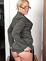 Busty secretary Anita Blue strips butt irritant naked.