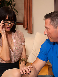 Sexy brunette MILF gets fucked rough increased by reaches giving orgasms from big cock.