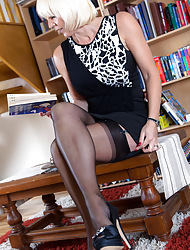Morose MILF Jan Burton plays librarian upon jet-black RHT nylon stockings